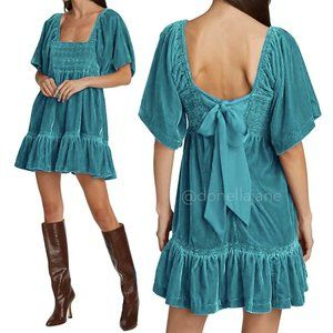 FREE PEOPLE🌺Easy To Love Smocked Velvet Teal Mini Dress